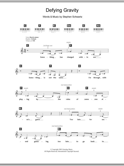 Defying Gravity : Sheet Music Direct