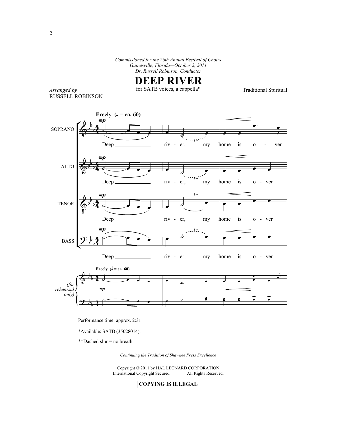 Partition chorale Deep River de Russell Robinson - SATB
