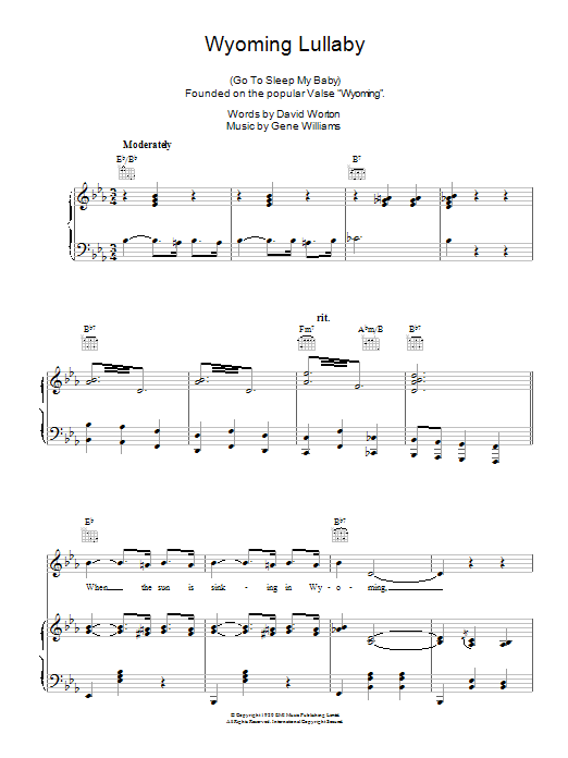 Wyoming Lullaby sheet music for voice, piano or guitar by Gene Williams