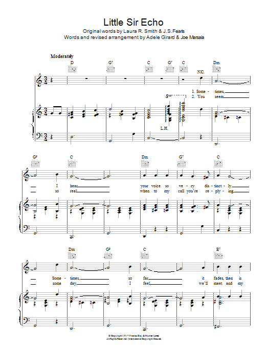 Little Sir Echo sheet music for voice, piano or guitar by Laura Smith