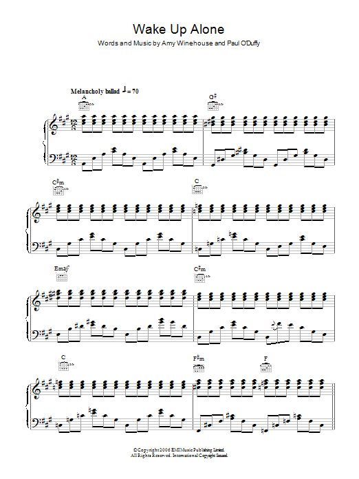 Wake Up Alone sheet music for voice, piano or guitar by Paul Staveley O'Duffy