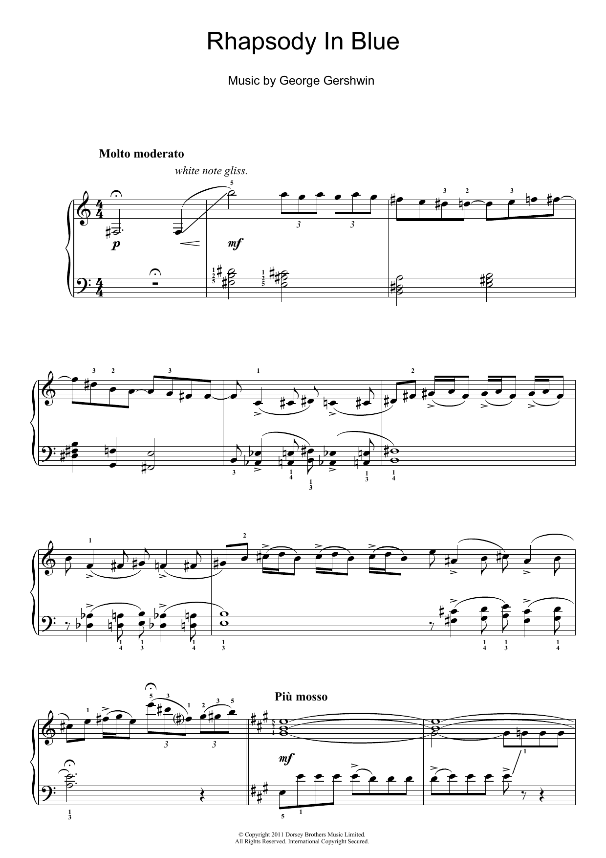Rhapsody In Blue sheet music for piano solo (chords) by George Gershwin