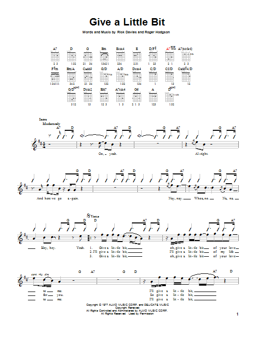 Tablature guitare Give A Little Bit de Supertramp - Tablature guitare facile