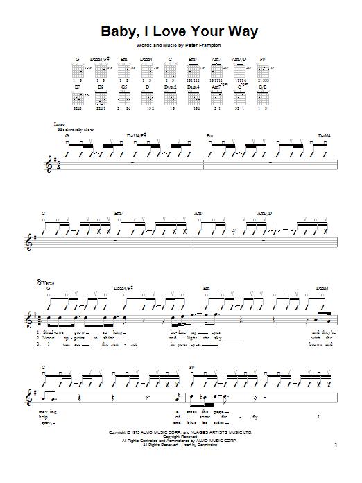 Tablature guitare Baby, I Love Your Way de Peter Frampton - Tablature guitare facile