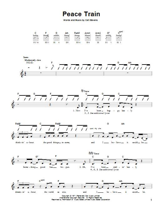 Tablature guitare Peace Train de Cat Stevens - Tablature guitare facile