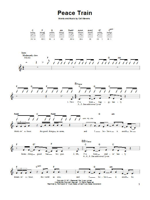 Sheet Music Digital Files To Print Licensed Cat Stevens Digital