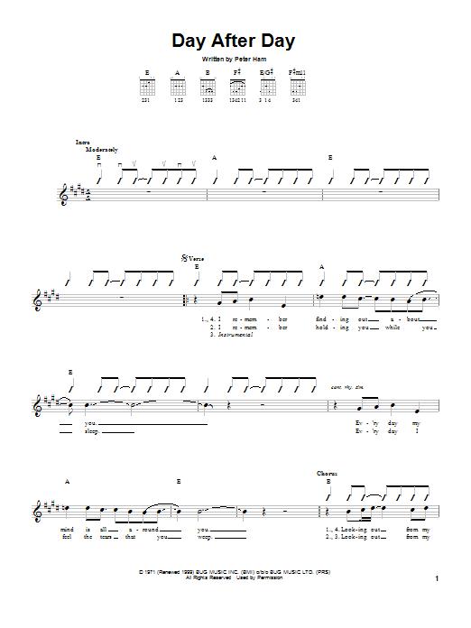 Tablature guitare Day After Day de Peter Ham - Tablature guitare facile