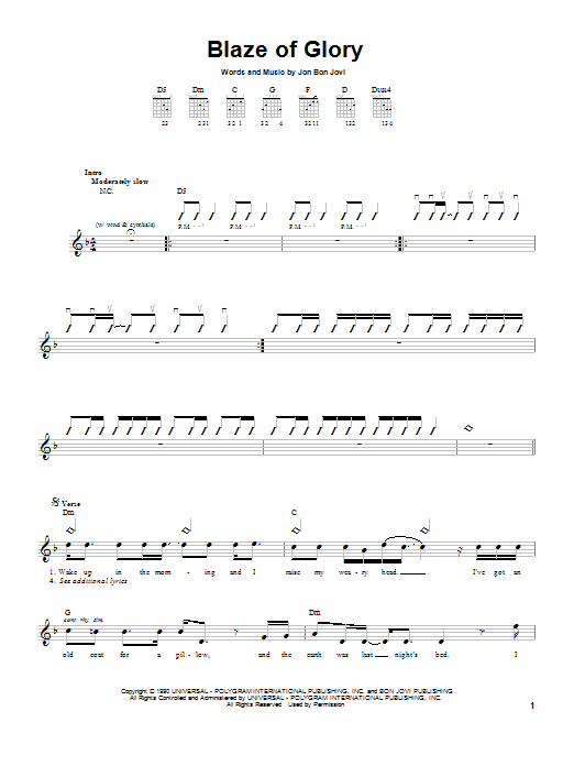 Tablature guitare Blaze Of Glory de Jon Bon Jovi - Tablature guitare facile