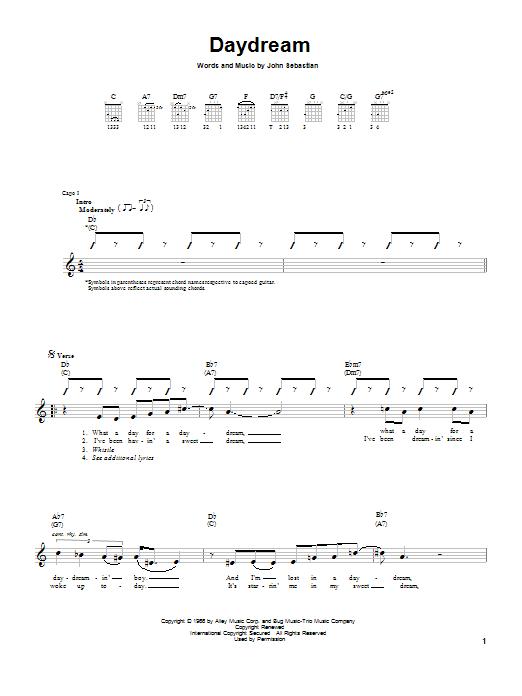 Tablature guitare Daydream de The Lovin' Spoonful - Tablature guitare facile