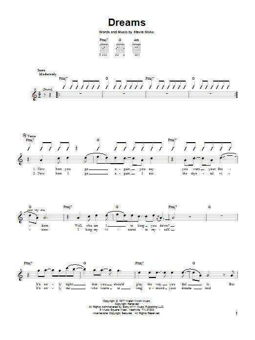 Tablature guitare Dreams de Fleetwood Mac - Tablature guitare facile