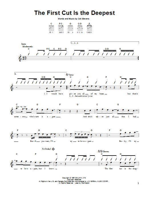 Tablature guitare The First Cut Is The Deepest de Sheryl Crow - Tablature guitare facile