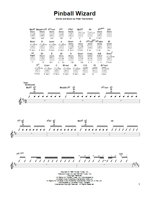 Tablature guitare Pinball Wizard de The Who - Tablature guitare facile
