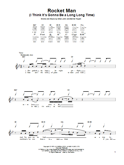 Rocket Man (I Think It's Gonna Be A Long Long Time) sheet music for guitar solo (chords) by Bernie Taupin
