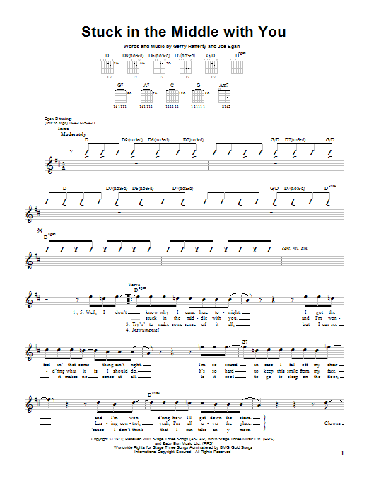 Tablature guitare Stuck In The Middle With You de Stealers Wheel - Tablature guitare facile