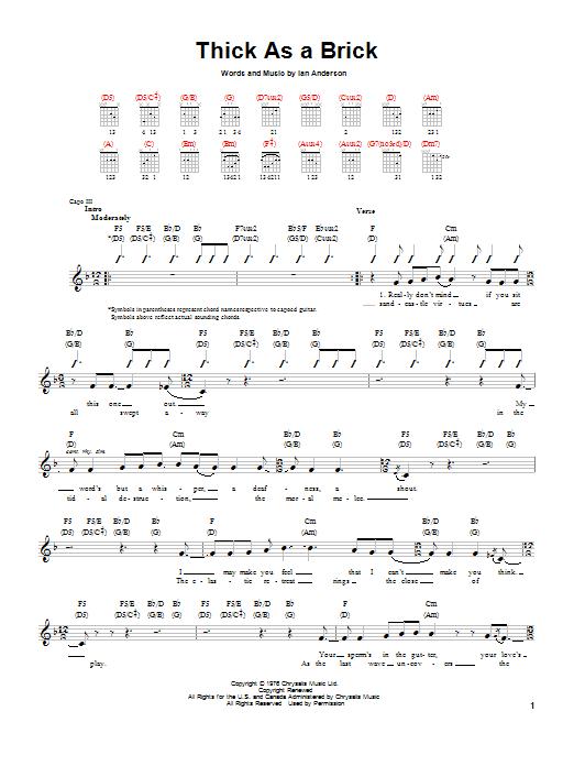 Tablature guitare Thick As A Brick de Jethro Tull - Tablature guitare facile