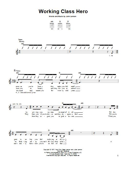 Tablature guitare Working Class Hero de Green Day - Tablature guitare facile