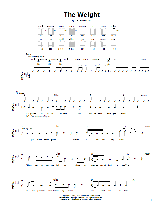 The Weight sheet music for guitar solo (chords) by Robbie Robertson