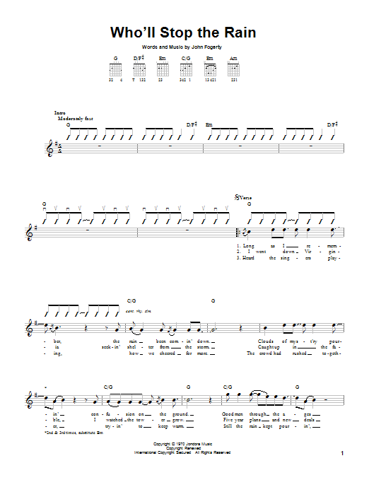 Tablature guitare Who'll Stop The Rain de Creedence Clearwater Revival - Tablature guitare facile