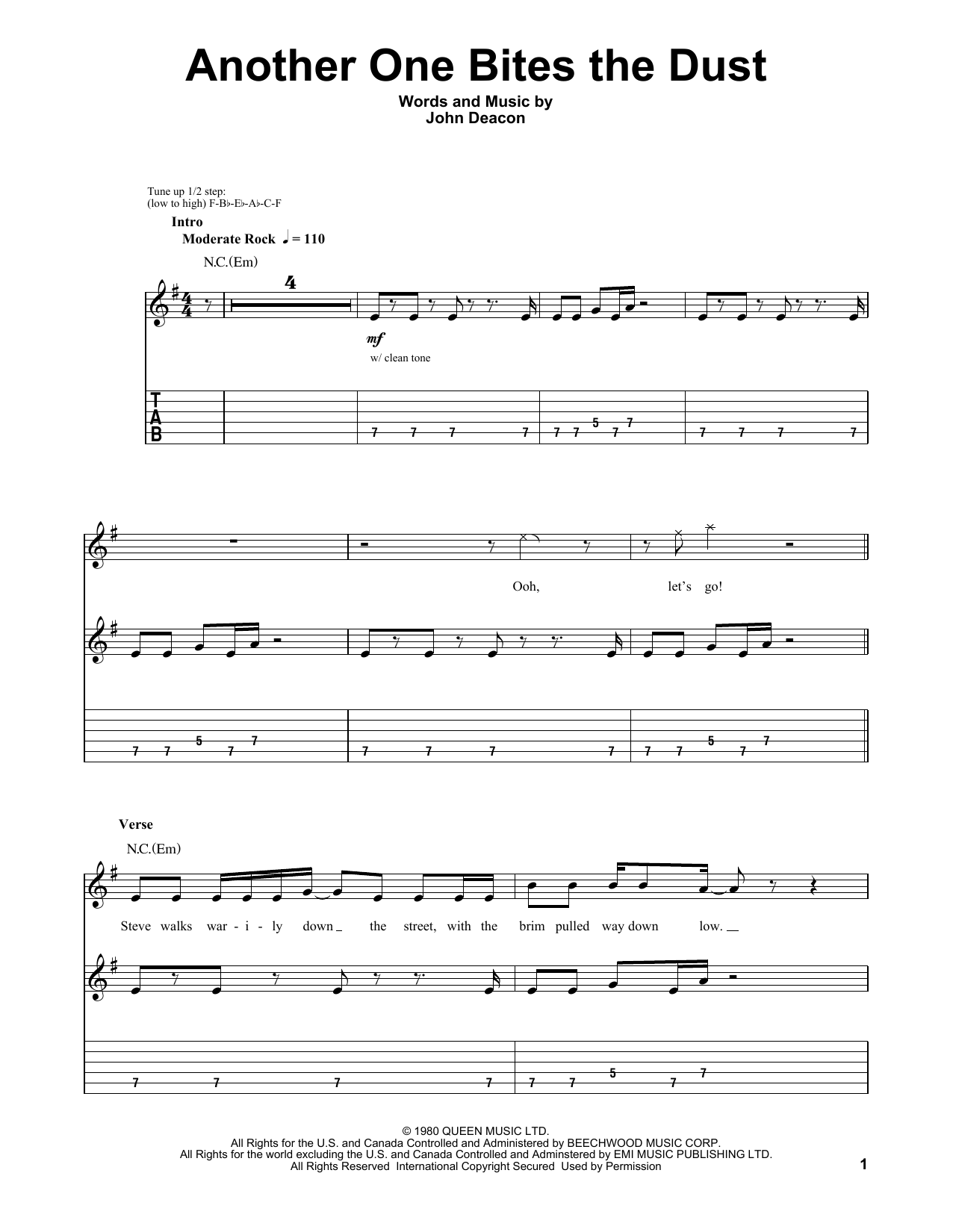 Tablature guitare Another One Bites The Dust de Queen - Tablature Guitare