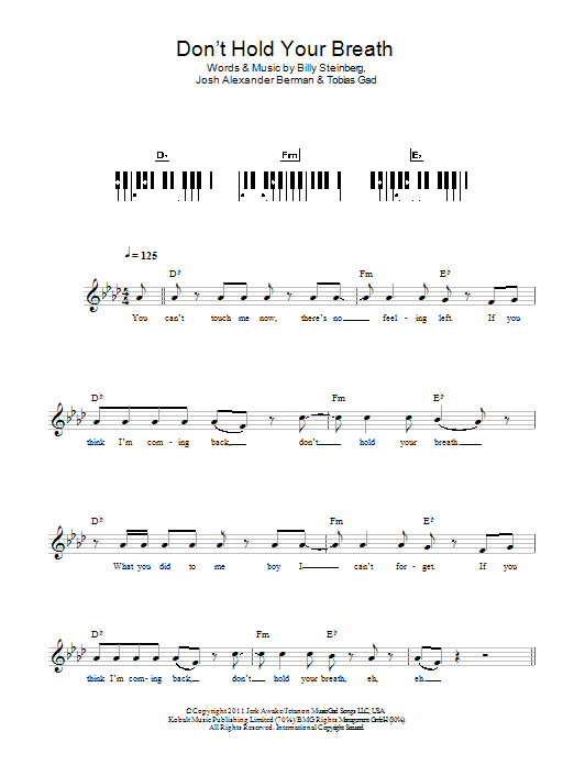Don't Hold Your Breath sheet music for piano solo (chords, lyrics, melody) by Toby Gad