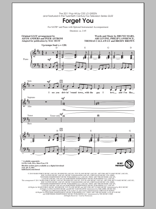 Partition chorale F**k You (Forget You) de Glee Cast - SATB