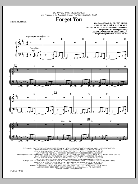 Forget You (complete set of parts) sheet music for orchestra/band (Rhythm) by Mac Huff