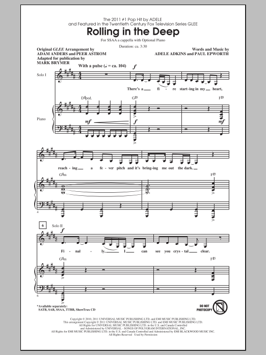 Rolling In The Deep sheet music for choir and piano (SSA) by Adele Adkins