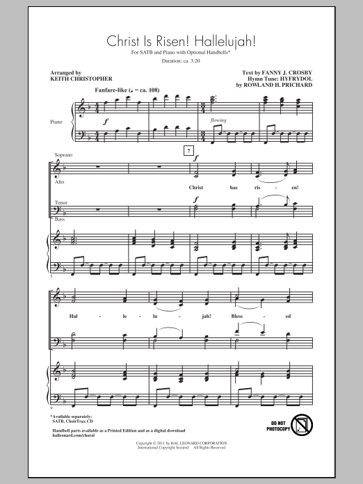 Christ Is Risen! Hallelujah! sheet music for choir and piano (SATB) by Rowland Prichard