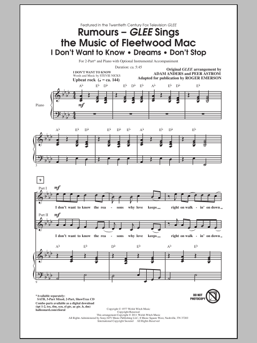 Partition chorale Glee Sings The Music Of Fleetwood Mac de Glee Cast - 2 voix