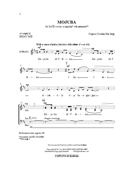 Mojuba sheet music for choir and piano (SATB) by Brian Tate