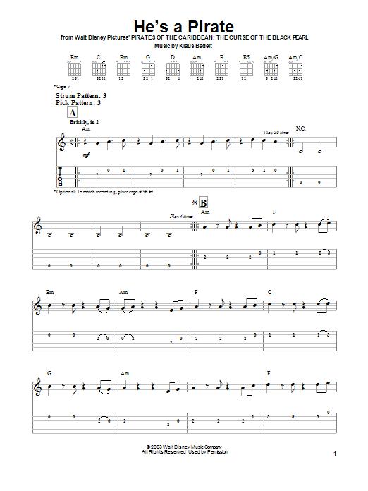 Tablature guitare He's A Pirate de Klaus Badelt - Tablature guitare facile