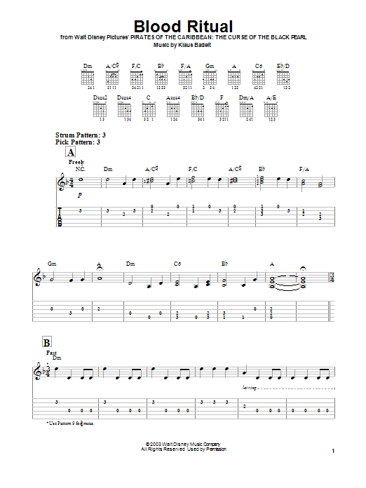 Tablature guitare Blood Ritual de Klaus Badelt - Tablature guitare facile