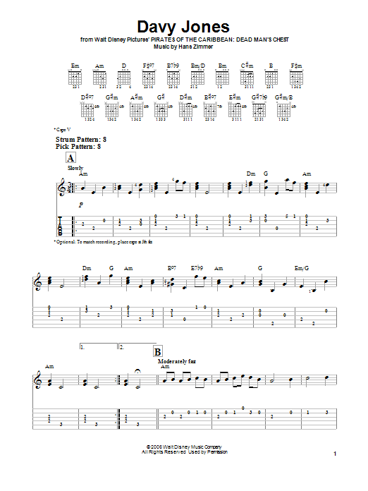 Tablature guitare Davy Jones de Hans Zimmer - Tablature guitare facile