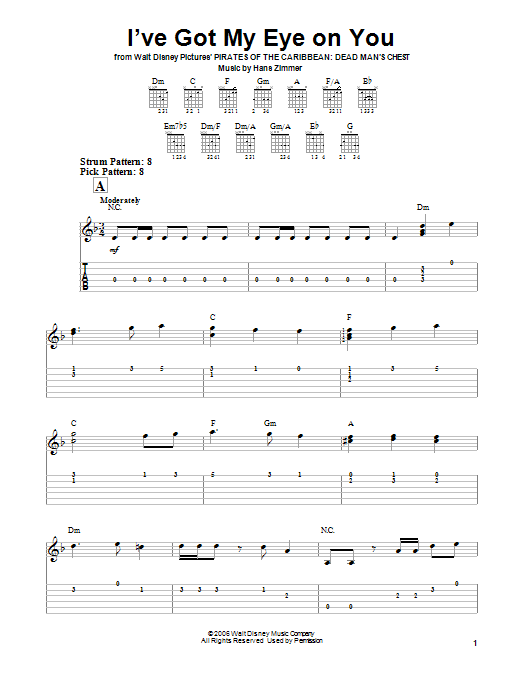 Tablature guitare I've Got My Eye On You de Hans Zimmer - Tablature guitare facile