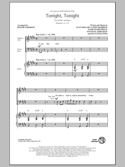 Tonight Tonight sheet music for choir and piano (SATB) by Emanuel Kiriakou