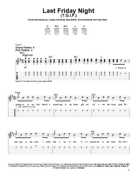 Tablature guitare Last Friday Night (T.G.I.F.) de Katy Perry - Tablature guitare facile