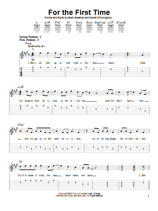 The script for the first time easy guitar tab sheetmusicdirect