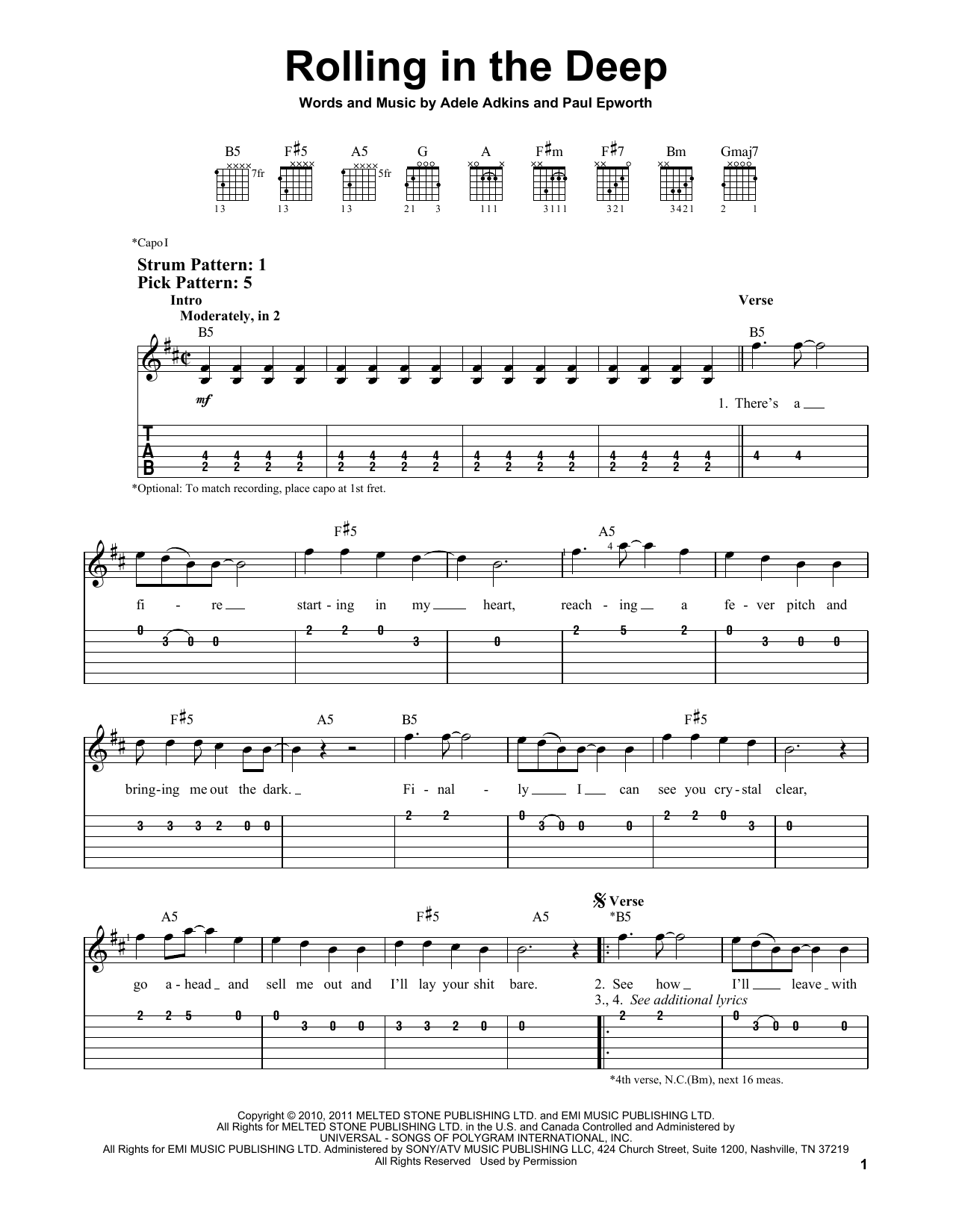 Tablature guitare Rolling In The Deep de Adele - Tablature guitare facile