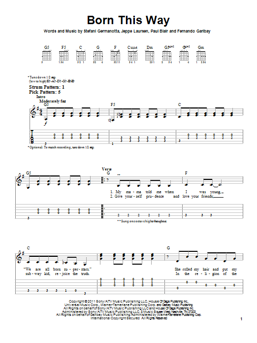 Tablature guitare Born This Way de Lady Gaga - Tablature guitare facile