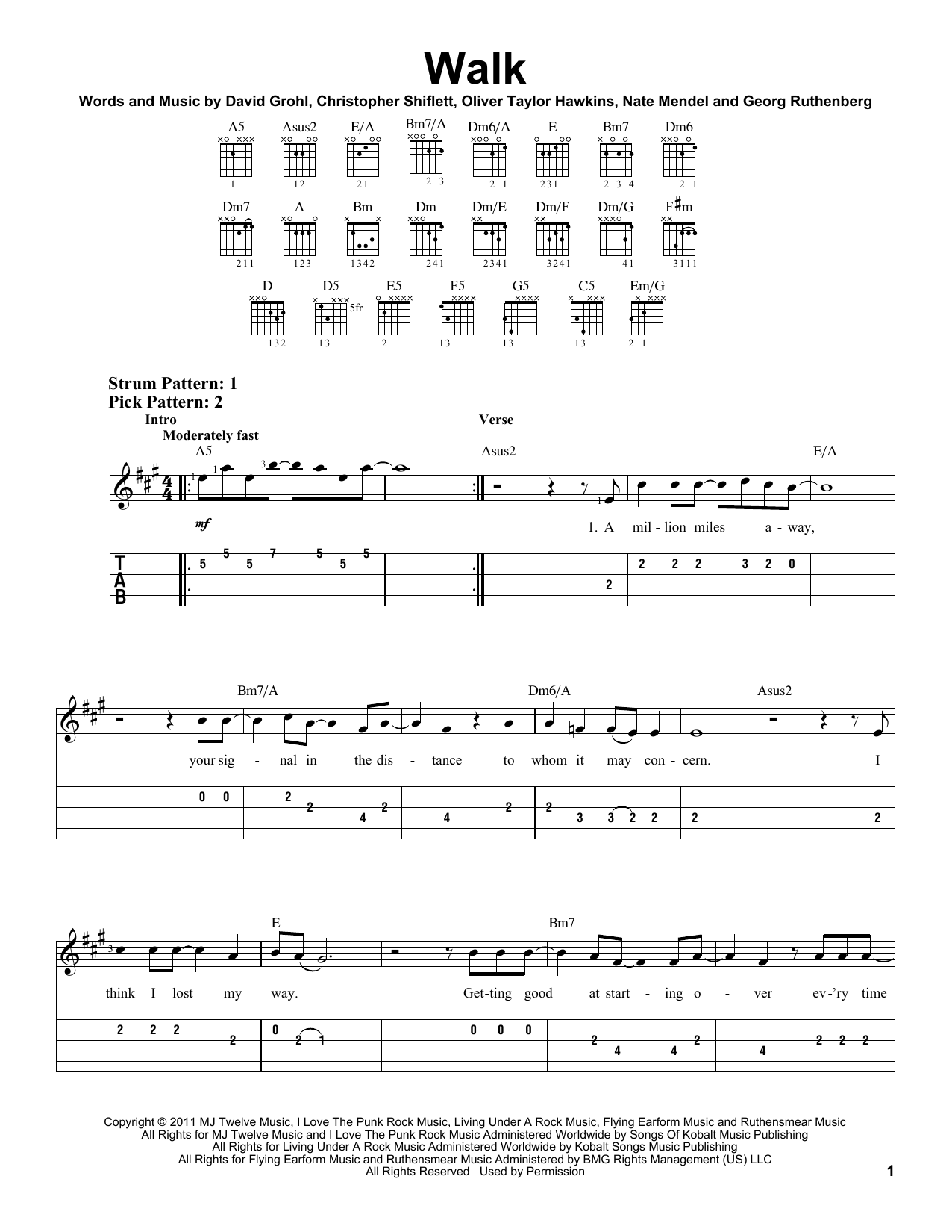 Tablature guitare Walk de Foo Fighters - Tablature guitare facile