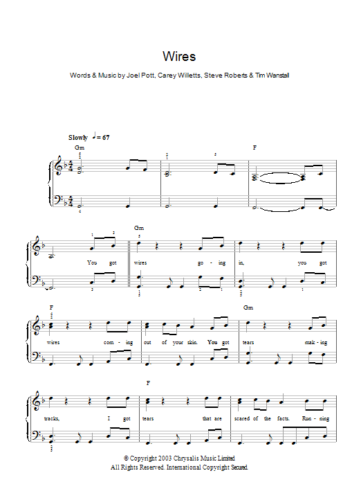Wires sheet music for piano solo (chords) by Tim Wanstall