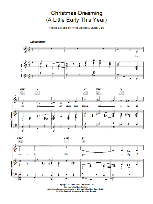 Christmas Dreaming sheet music for voice, piano or guitar by Lester Lee