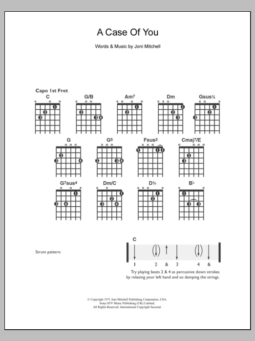 A Case Of You sheet music for guitar solo (chords) by Joni Mitchell