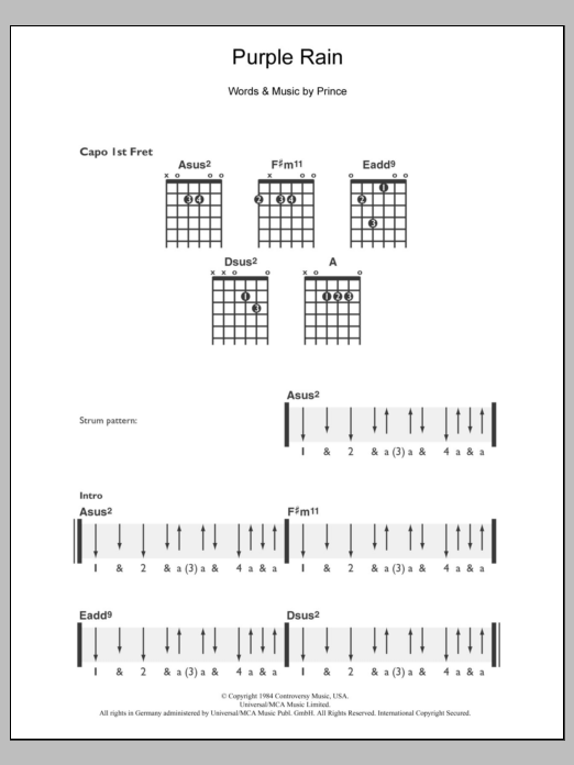 Purple Rain sheet music for guitar solo (chords) by Prince