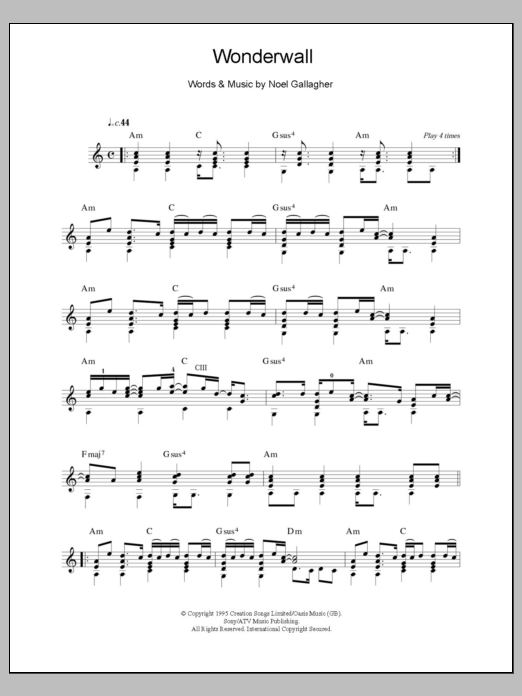 Populaire Oasis - Wonderwall - Sheet Music at Stanton's Sheet Music KL63