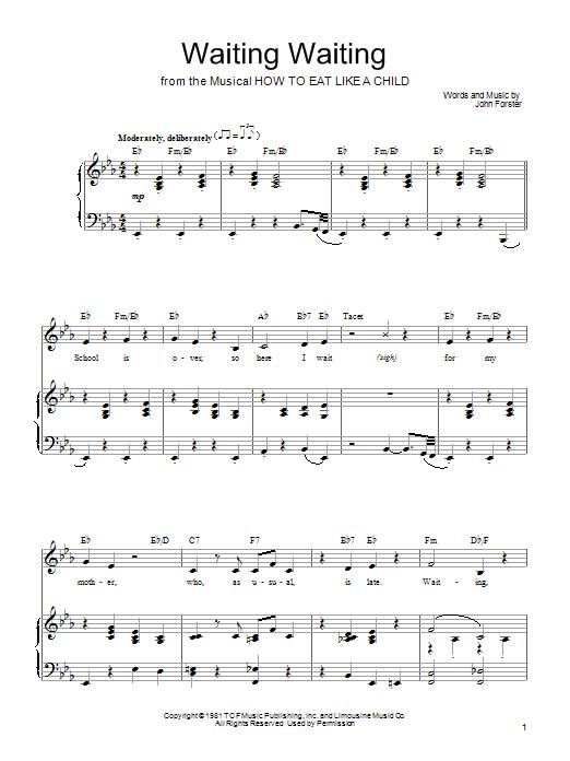 Partition piano Waiting Waiting de Mariann Cook - Piano Voix Guitare (Mélodie Main Droite)