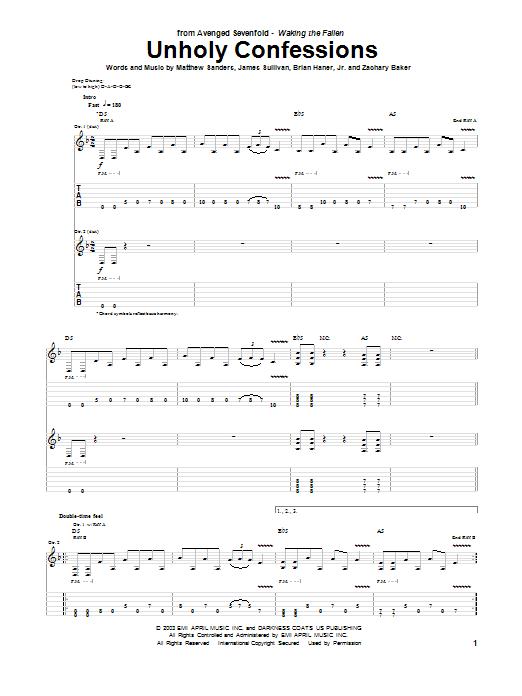 Tablature guitare Unholy Confessions de Avenged Sevenfold - Tablature Guitare