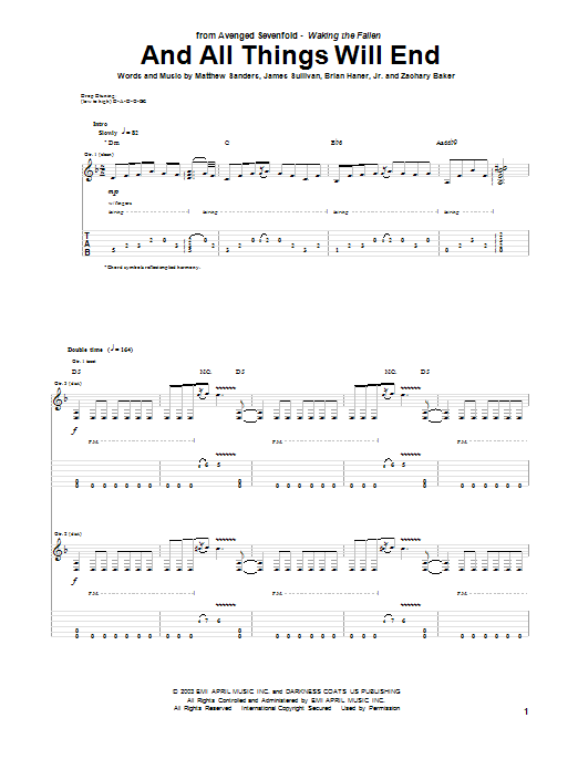 Tablature guitare And All Things Will End de Avenged Sevenfold - Tablature Guitare