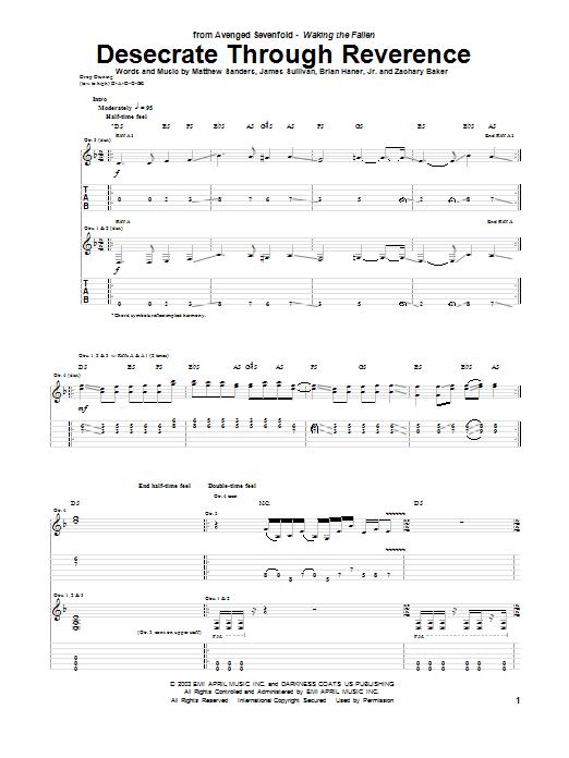 Tablature guitare Desecrate Through Reverance de Avenged Sevenfold - Tablature Guitare