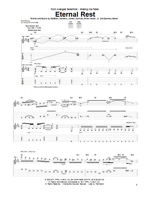 Tablature guitare Eternal Rest de Avenged Sevenfold - Tablature Guitare